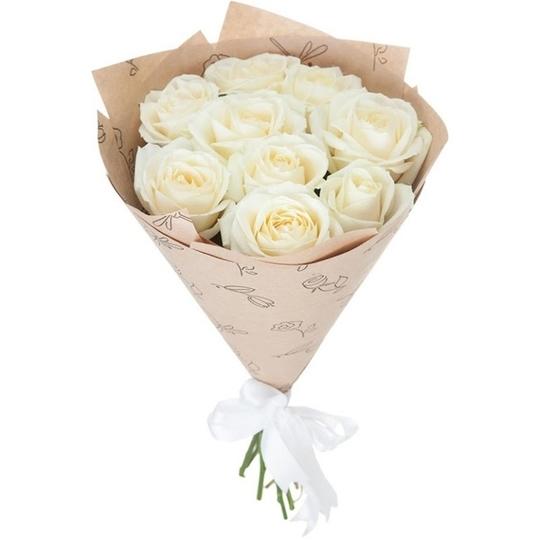 Букет из 9 белых роз в интернет магазине kaktus-24.ru
