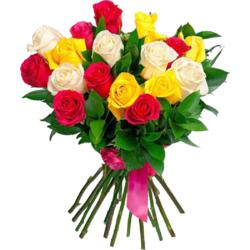 Разноцветные розы в Спб.