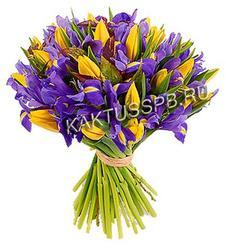Букет тюльпанов в ирисах