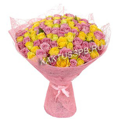 101 желтая и розовая роза