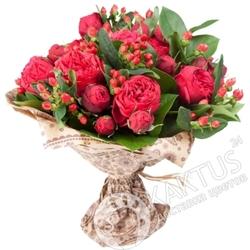 Красные пионовидные розы в СПб.